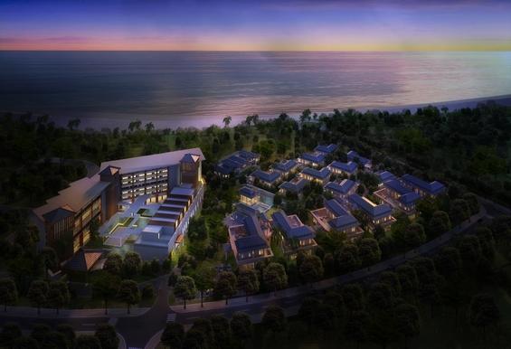 半山半岛小区内夜幕下的安纳塔酒店 -半山半岛项目效果图